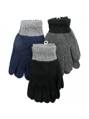 Mens Plain Fashion Knitted Gloves - Assorted Colours