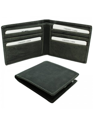 Mens RFID Cowhide Leather Wallet with 10 Card Slots - Black