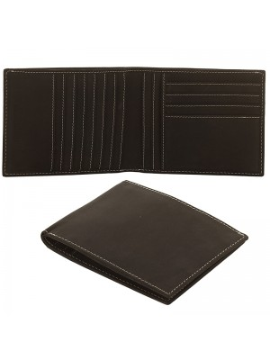 Mens RFID Cowhide Leather Wallet with 11 Card Slots - Black