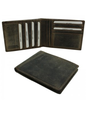 Mens RFID Cowhide Leather Wallet with 11 Card Slots - Brown