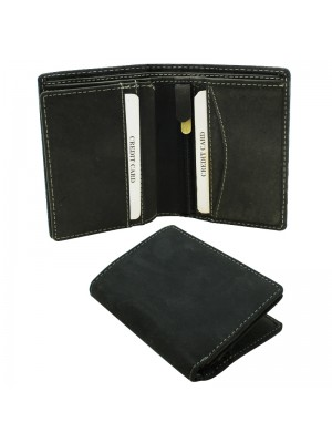 Mens RFID Cowhide Leather Wallet with 5 Card Slots - Black