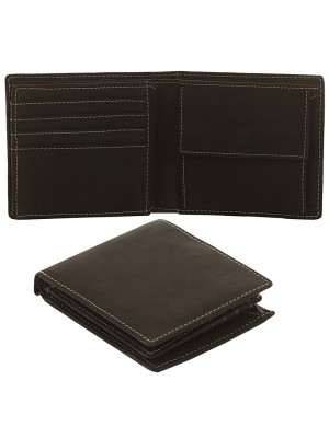 Mens RFID Cowhide Leather Wallet with 8 Card Slots - Black