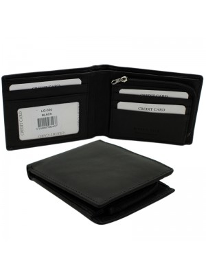 Mens RFID Genuine Leather Wallet with 4 Card Slots - Black