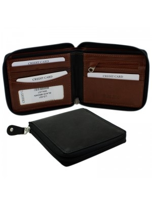 Mens RFID Genuine Leather Wallet with 4 Card Slots - Black & Brown