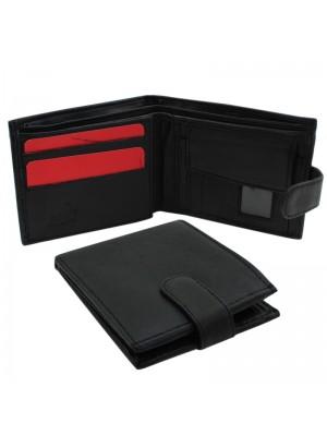 Mens RFID Genuine Leather Wallet with 6 Card Slots - Black