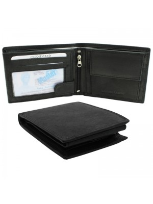 Mens RFID Genuine Leather Wallet with 7 Card Slots - Black