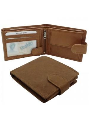 Mens RFID Genuine Leather Wallet with 7 Card Slots - Tan