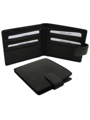 Mens RFID Genuine Leather Wallet with 8 Card Slots - Black