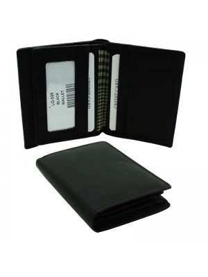 Mens RFID Woodbridge Genuine Leather Wallet 6 Card Slots - Black