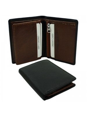 Mens RFID Woodbridge Genuine Leather Wallet 6 Card Slots - Black & Brown