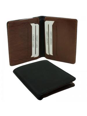 Mens RFID Woodbridge Genuine Leather Wallet 6 Card Slots - Black & Brown
