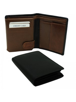 Mens RFID Woodbridge Genuine Leather Wallet 9 Card Slots - Black + Brown