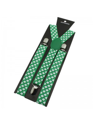 Wholesale Mens Shamrock Printed Braces - Green & White