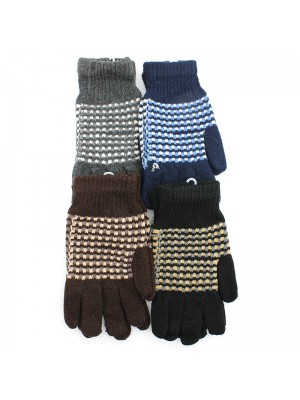 Mens Spotted Knitted Fashion Gloves - Assorted Colours
