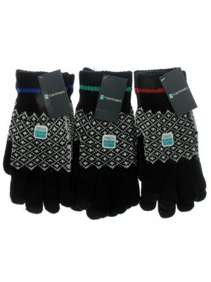 Mens Striped Cuff Fashion Touch Screen Gloves - Black