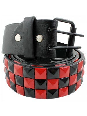 Mens Studded Leather Belt - Black & Red