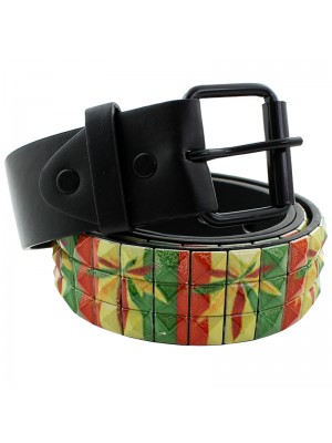 Mens Studded Leather Belt - Cannabis Print