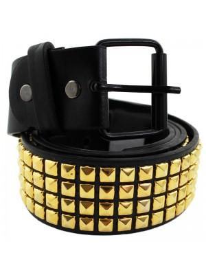 Mens Studded Leather Belt - Gold