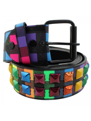 Mens Studded Leather Belt - Rainbow Colours