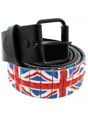 Mens Studded Leather Belts - Union Jack Print