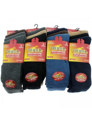 Mens' Brushed Thermal Winter Socks - Assorted Colours