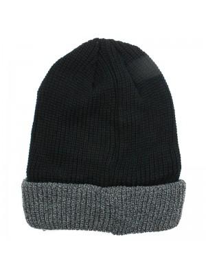 Mens Two Tone Thinsulate Fashion Beanie Hat - Black & Grey