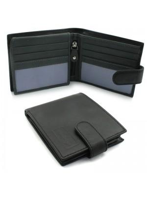 Mens Woodbridge Genuine Leather Wallet - Black & Grey