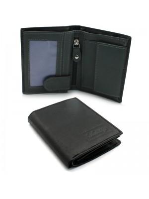 Mens Woodbridge Leather Wallet - Black & Grey