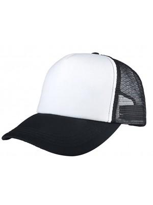 Plain Trucker Mesh Adjustable Baseball Cap - Black