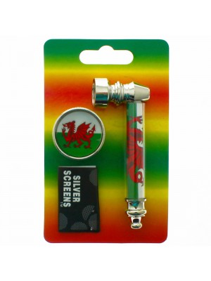 Wholesale Metal Pipe Gift Set With Screens & Grinder Welsh Flag - 8.5 cm