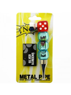 Metal Smoking Pipe Dice And Beads Asst. Colours