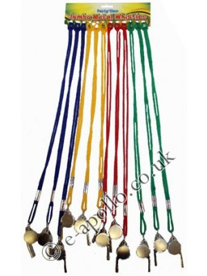 Metal Whistles With Assorted Coloured Strings