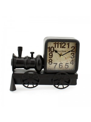 Metal Mantel Clock (Black Locomotive Train) - 24cm