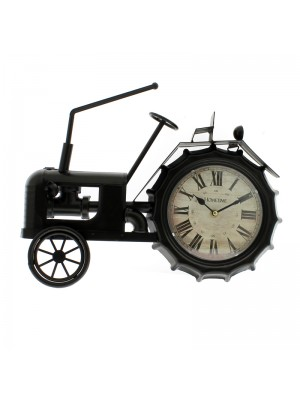 Metal Mantel Clock (Black Tractor) - 39cm