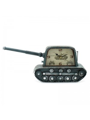 Metal Mantel Clock (Military Tank) - 20cm