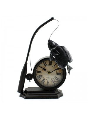 Metal Mantel Novelty Clock (Fishing Rod & Fish) - 35cm