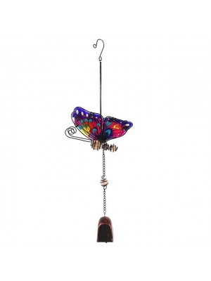 Metal Purple Butterfly Wind Chime - 44cm