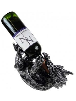 Wholesale Metallic Silver Dragon Guzzler Wine Bottle Holder - 32cm