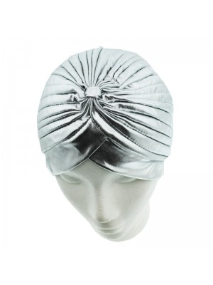 Metallic Turban Hat - Silver