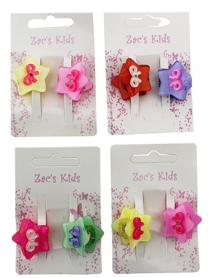 Mini Hair Clamps With Bow Design In Assorted Colours - Pack of 2