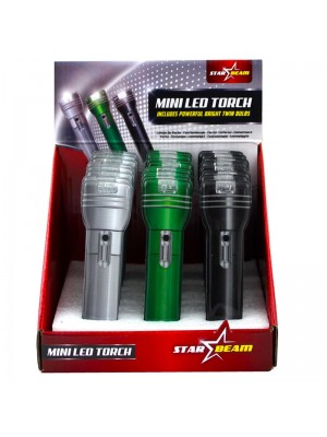 Wholesale Metallic 2 LED Pvc Mini Torch - Assorted Colours
