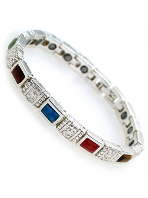 Wholesale Magnetic Bracelet With 18 Magnets - Multi Colour Stones - Silver