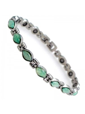 Wholesale Magnetic Bracelet With 13 Magnets - Silver With Jade Green Stones