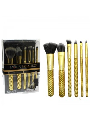 Wholesale Chique Royal Moda Metallics 7pc Total Face Flip Brushes Kit Gold