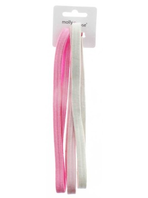 Wholesale Molly & Rose 3 Long Tonal Pink Elastic Headbands