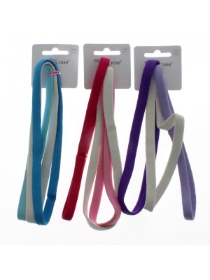 Molly & Rose 3 Tonal Coloured Snag Free Long Elastics Headbands