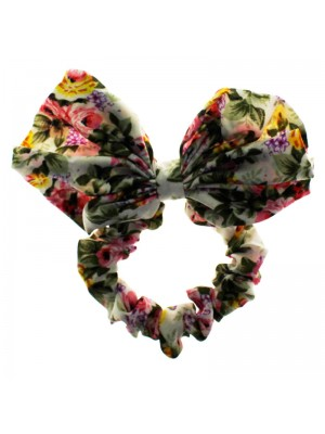 Wholesale Molly & Rose Floral Print Fabric Scrunchie With Matching Bow - Assorted