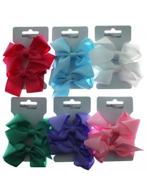 Wholesale Molly & Rose Jersey Elastics With Grosgrain Ribbon Bows - Assorted