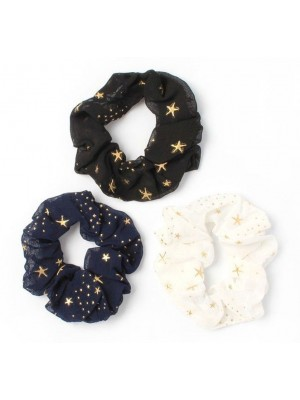 Molly & Rose Star Print Fabric Scrunchies - Assorted