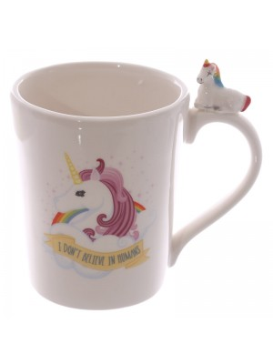 Mug With Unicorn Handle & Print - Assorted Colours